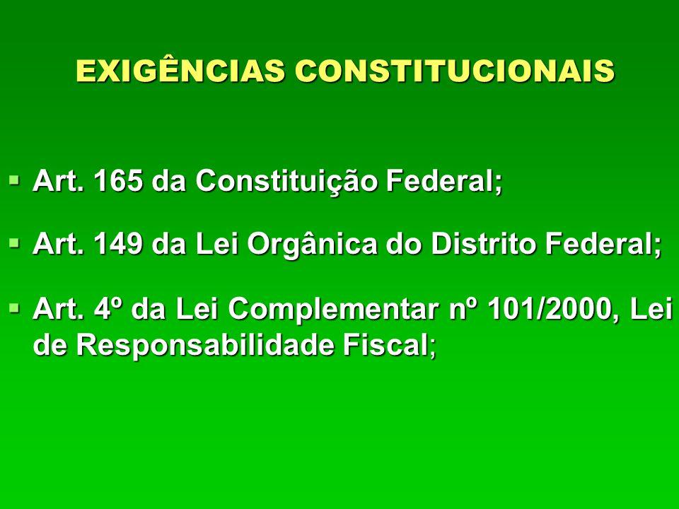 EXIGÊNCIAS CONSTITUCIONAIS  Art. 165 da Constituição Federal;  Art.