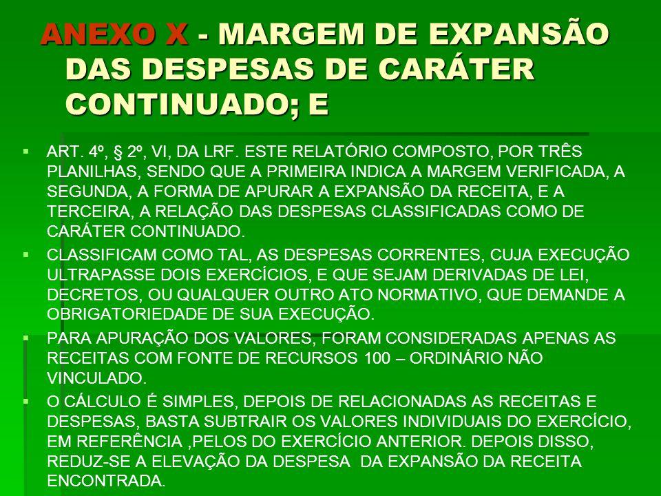 ANEXO X - MARGEM DE EXPANSÃO DAS DESPESAS DE CARÁTER CONTINUADO; E   ART.