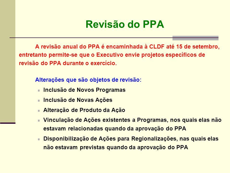 A revisão anual do PPA é encaminhada à CLDF até 15 de setembro, entretanto permite-se que o Executivo envie projetos específicos de revisão do PPA dur
