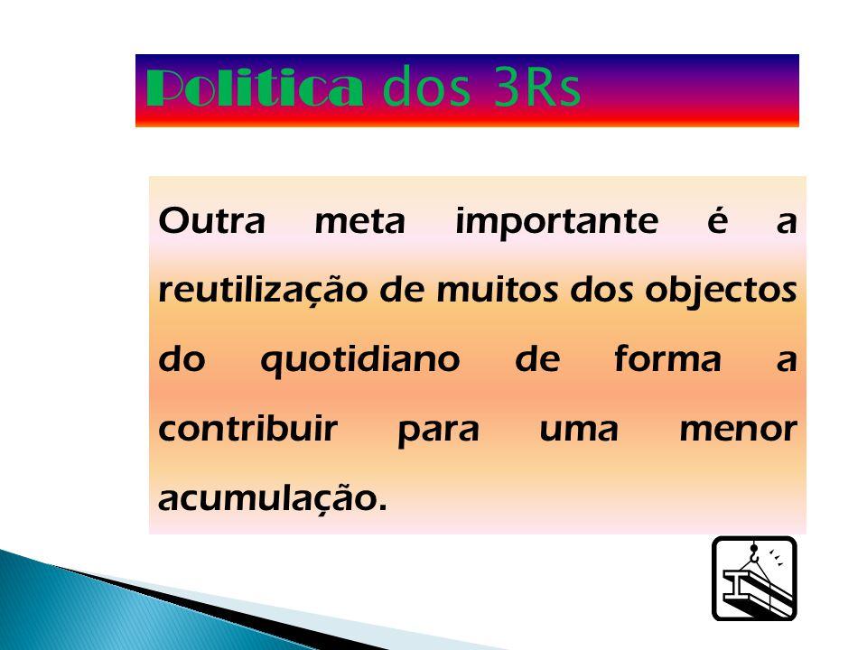 Politica dos 3Rs Outra meta importante é a reutilização de muitos dos objectos do quotidiano de forma a contribuir para uma menor acumulação.