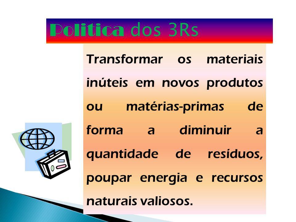 Politica dos 3Rs Transformar os materiais inúteis em novos produtos ou matérias-primas de forma a diminuir a quantidade de resíduos, poupar energia e