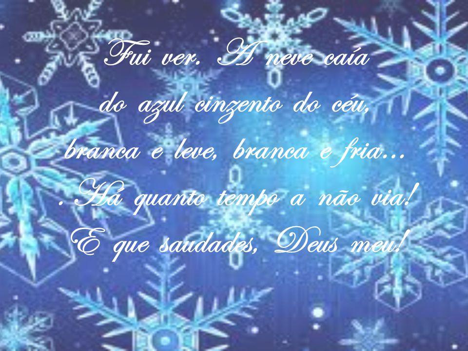 Fui ver. A neve caía do azul cinzento do céu, branca e leve, branca e fria…. Há quanto tempo a não via! E que saudades, Deus meu!