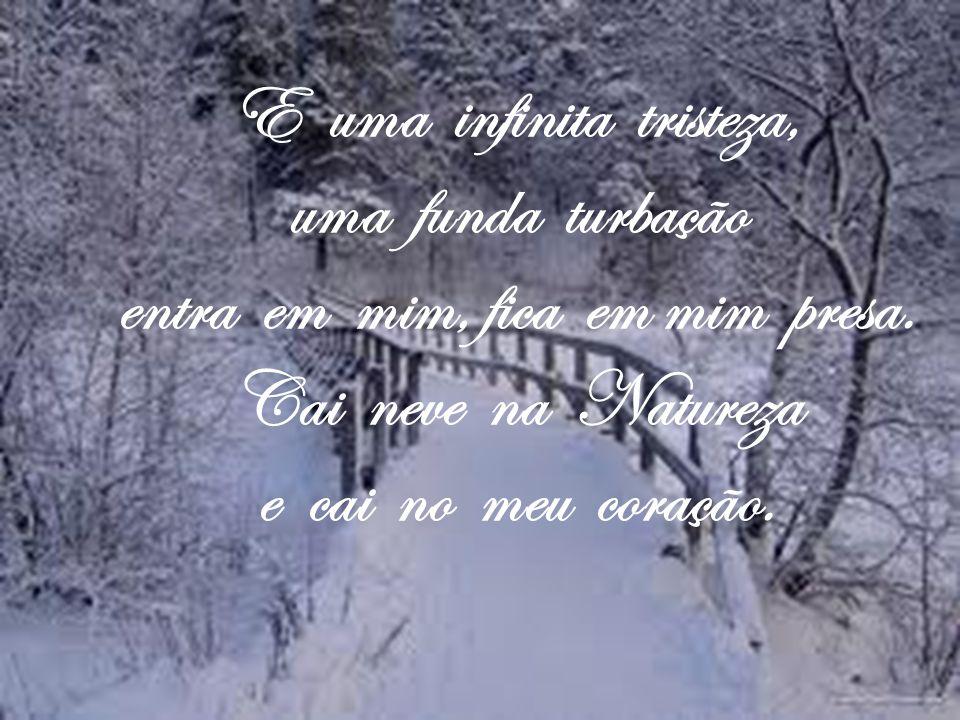 E uma infinita tristeza, uma funda turbação entra em mim, fica em mim presa. Cai neve na Natureza e cai no meu coração.