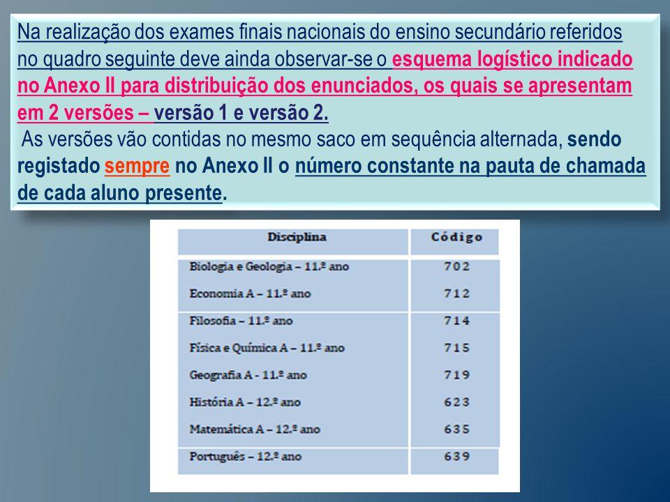 Na realização dos exames finais nacionais do ensino secundário referidos no quadro seguinte deve ainda observar-se o esquema logístico indicado no Anexo II para distribuição dos enunciados, os quais se apresentam em 2 versões – versão 1 e versão 2.