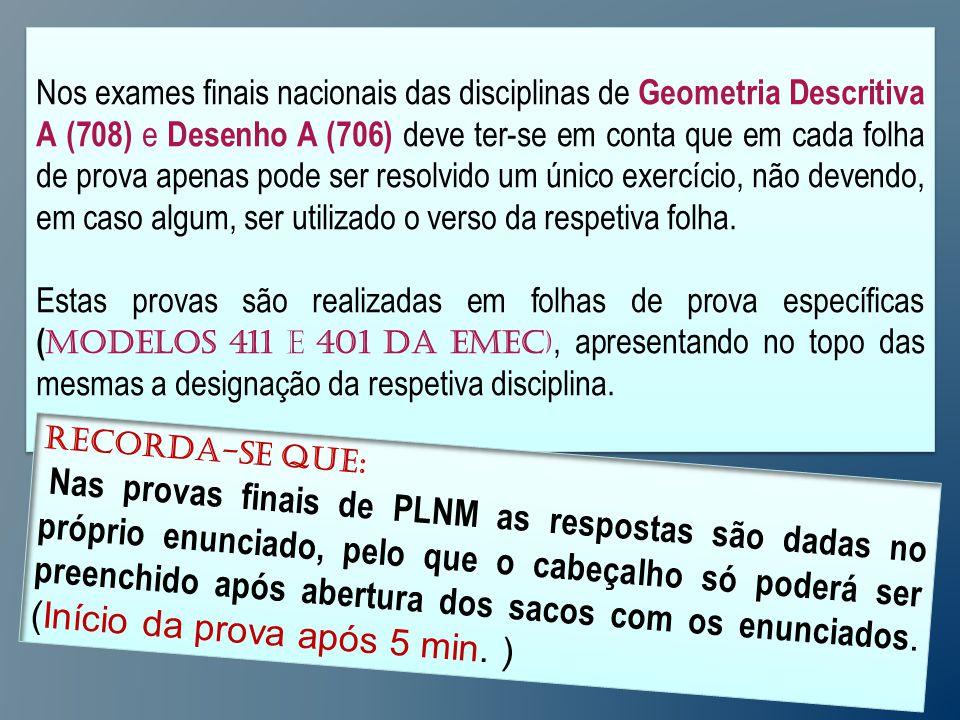 Nos exames finais nacionais das disciplinas de Geometria Descritiva A (708) e Desenho A (706) deve ter-se em conta que em cada folha de prova apenas pode ser resolvido um único exercício, não devendo, em caso algum, ser utilizado o verso da respetiva folha.