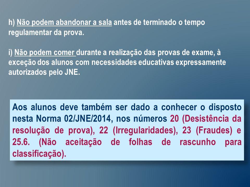 Aos alunos deve também ser dado a conhecer o disposto nesta Norma 02/JNE/2014, nos números 20 (Desistência da resolução de prova), 22 (Irregularidades), 23 (Fraudes) e 25.6.
