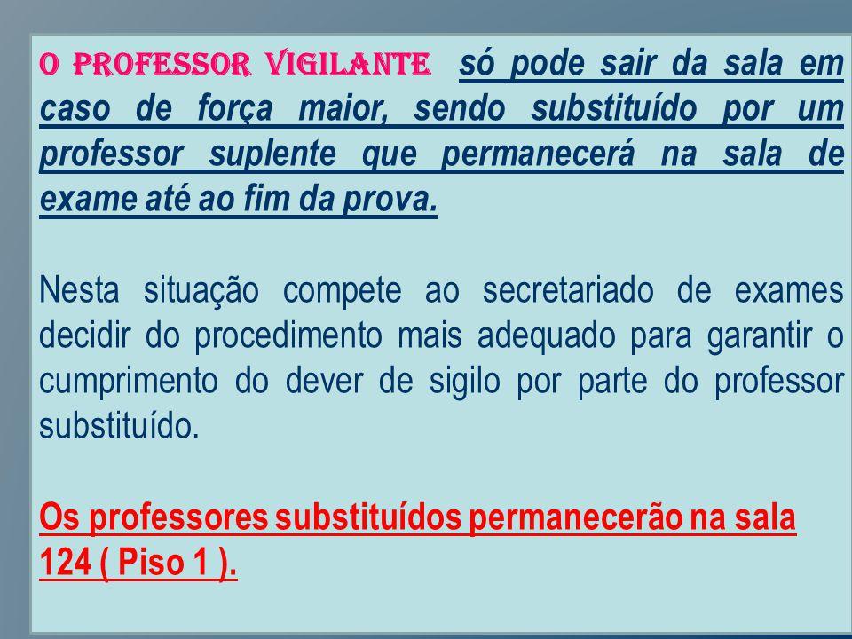 O professor vigilante só pode sair da sala em caso de força maior, sendo substituído por um professor suplente que permanecerá na sala de exame até ao fim da prova.