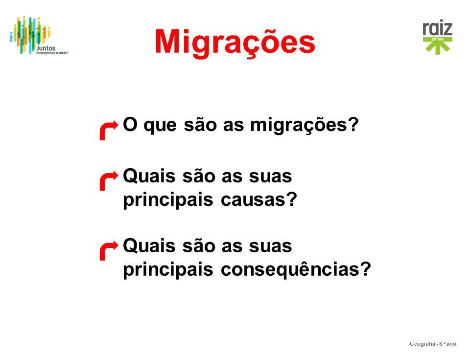 Geografia - 8.º ano O que são as migrações? Quais são as suas principais causas? Quais são as suas principais consequências? Migrações