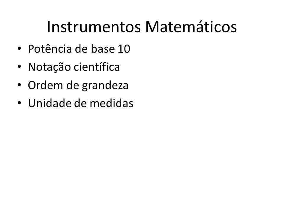 Instrumentos Matemáticos Potência de base 10 Notação científica Ordem de grandeza Unidade de medidas