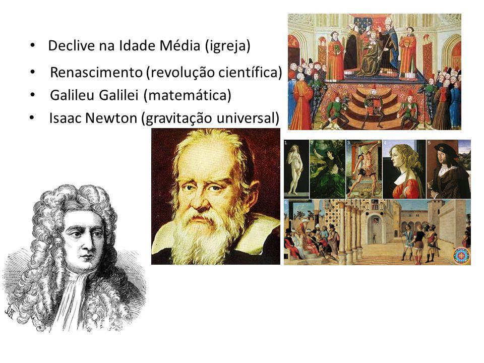 Declive na Idade Média (igreja) Renascimento (revolução científica) Galileu Galilei (matemática) Isaac Newton (gravitação universal)
