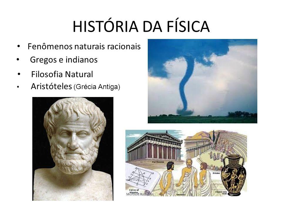 HISTÓRIA DA FÍSICA Fenômenos naturais racionais Gregos e indianos Filosofia Natural Aristóteles (Grécia Antiga)