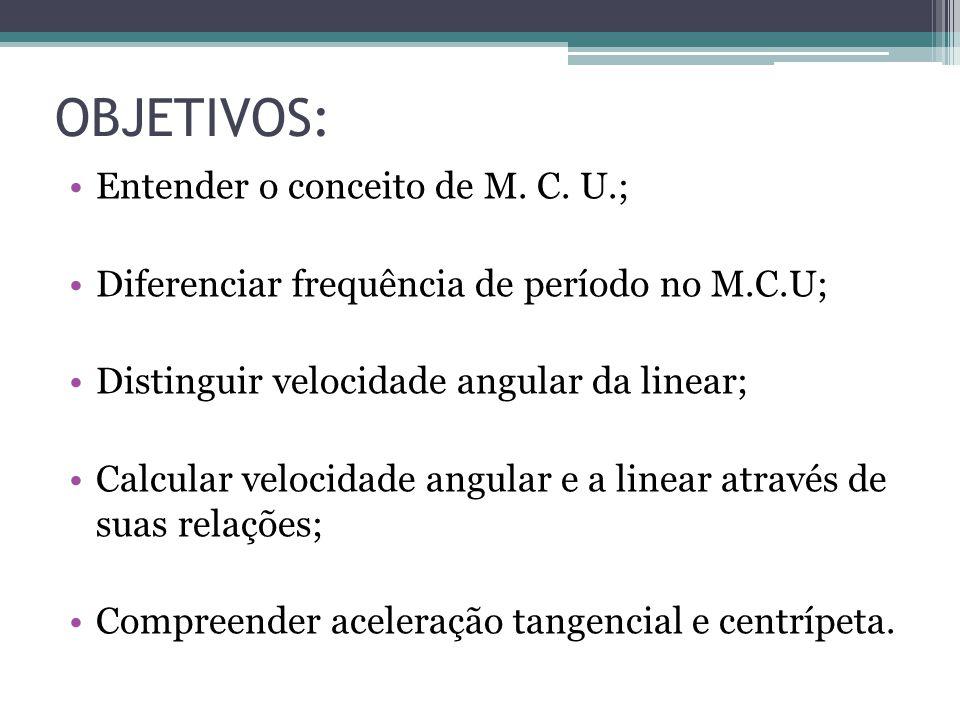 OBJETIVOS: Entender o conceito de M. C. U.; Diferenciar frequência de período no M.C.U; Distinguir velocidade angular da linear; Calcular velocidade a