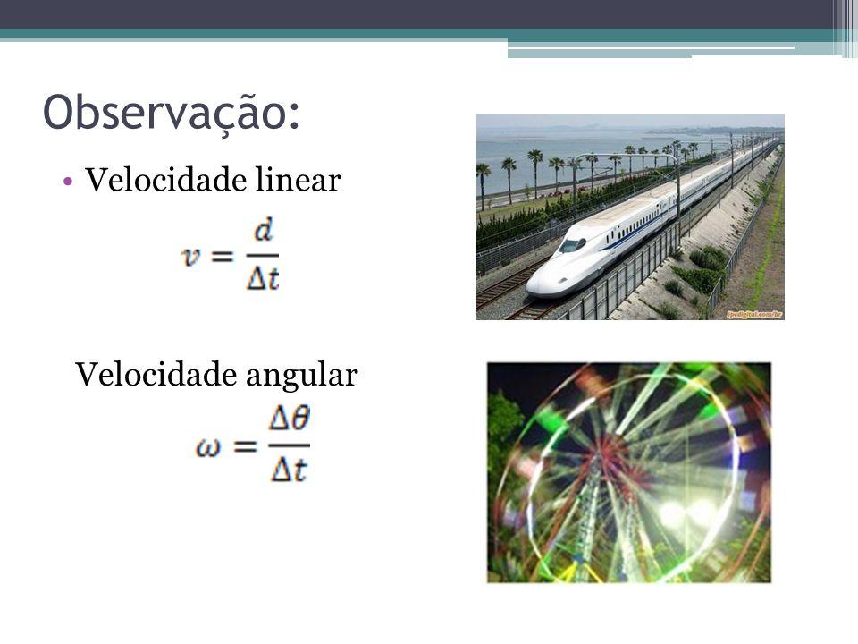 Observação: Velocidade linear Velocidade angular