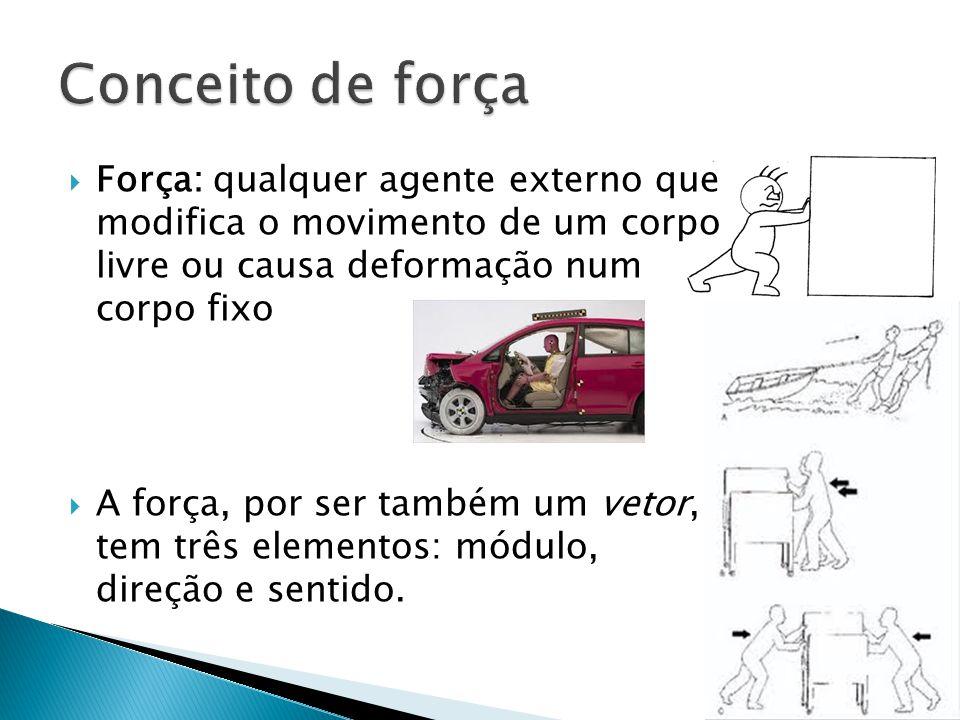  Força: qualquer agente externo que modifica o movimento de um corpo livre ou causa deformação num corpo fixo  A força, por ser também um vetor, tem