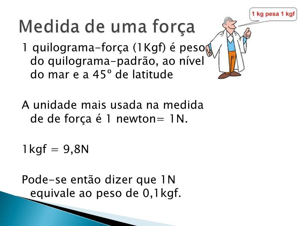 1 quilograma-força (1Kgf) é peso do quilograma-padrão, ao nível do mar e a 45º de latitude A unidade mais usada na medida de de força é 1 newton= 1N.