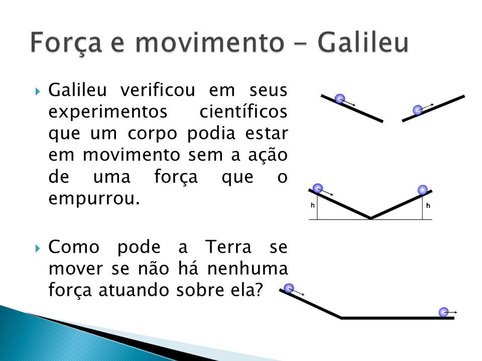  Galileu verificou em seus experimentos científicos que um corpo podia estar em movimento sem a ação de uma força que o empurrou.  Como pode a Terra