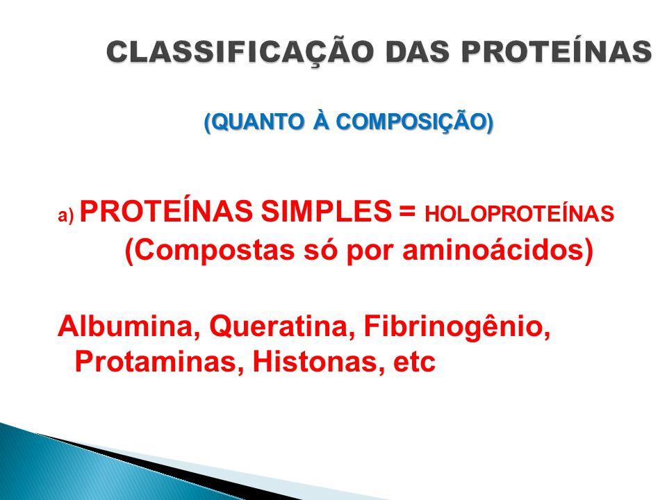 CLASSIFICAÇÃO DAS PROTEÍNAS (QUANTO À COMPOSIÇÃO) a) PROTEÍNAS SIMPLES = HOLOPROTEÍNAS (Compostas só por aminoácidos) Albumina, Queratina, Fibrinogêni