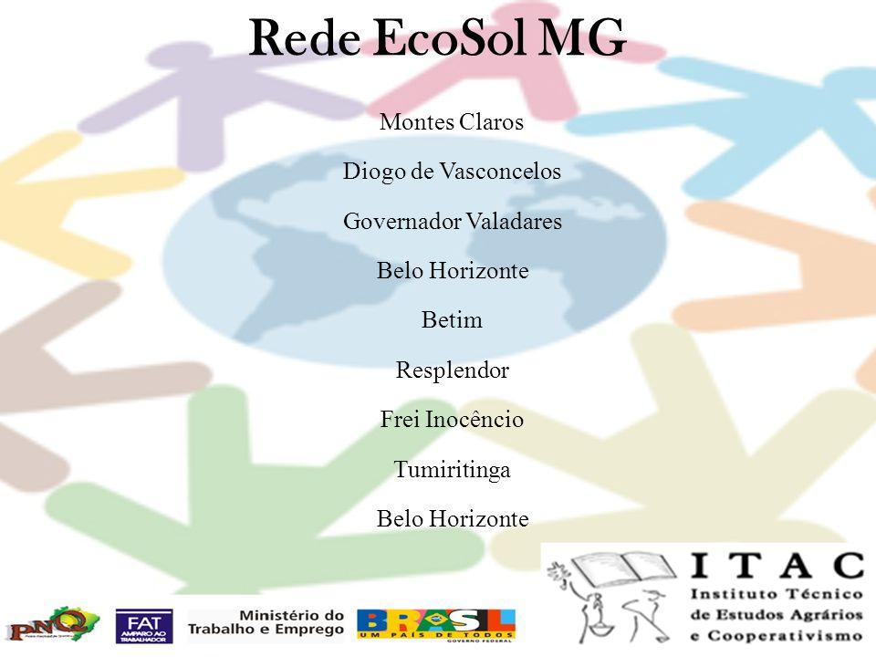 Rede EcoSol MG Montes Claros Diogo de Vasconcelos Governador Valadares Belo Horizonte Betim Resplendor Frei Inocêncio Tumiritinga Belo Horizonte