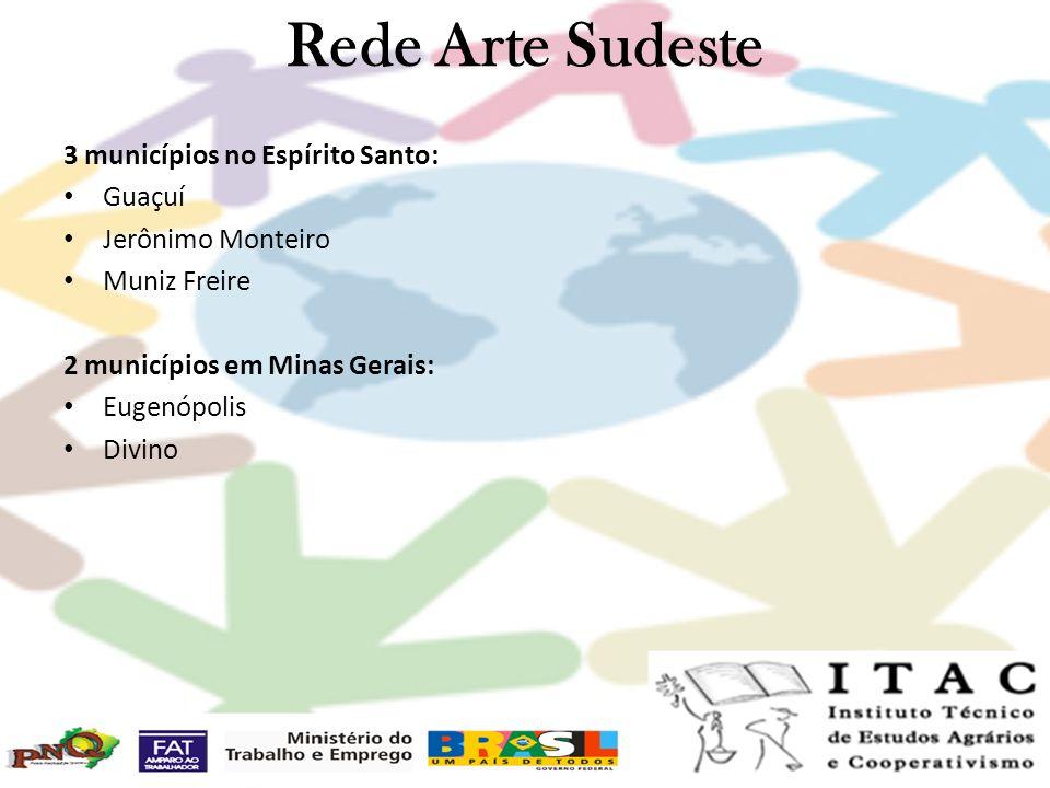 Rede Arte Sudeste 3 municípios no Espírito Santo: Guaçuí Jerônimo Monteiro Muniz Freire 2 municípios em Minas Gerais: Eugenópolis Divino