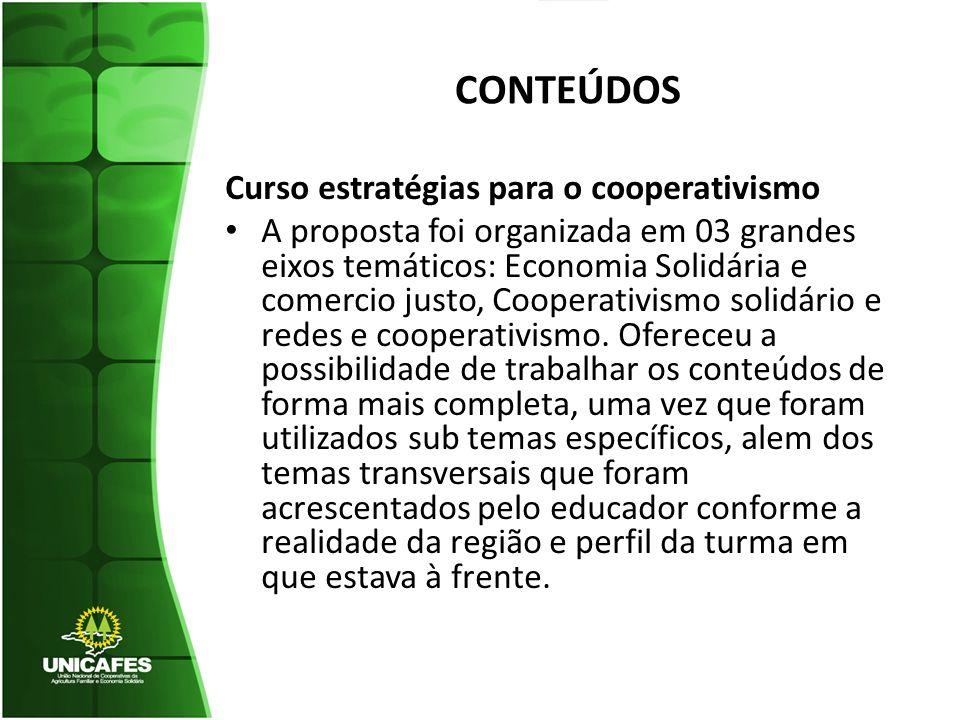 CONTEÚDOS Curso estratégias para o cooperativismo A proposta foi organizada em 03 grandes eixos temáticos: Economia Solidária e comercio justo, Cooperativismo solidário e redes e cooperativismo.