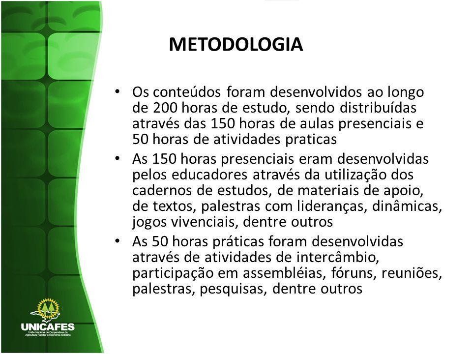 METODOLOGIA Os conteúdos foram desenvolvidos ao longo de 200 horas de estudo, sendo distribuídas através das 150 horas de aulas presenciais e 50 horas