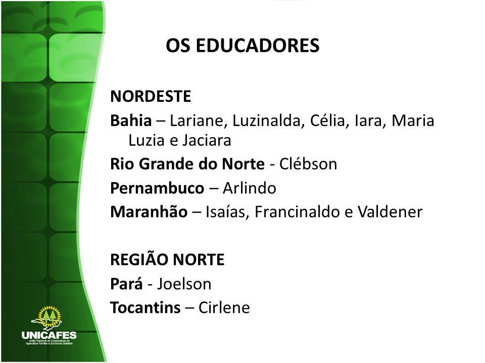 OS EDUCADORES NORDESTE Bahia – Lariane, Luzinalda, Célia, Iara, Maria Luzia e Jaciara Rio Grande do Norte - Clébson Pernambuco – Arlindo Maranhão – Is