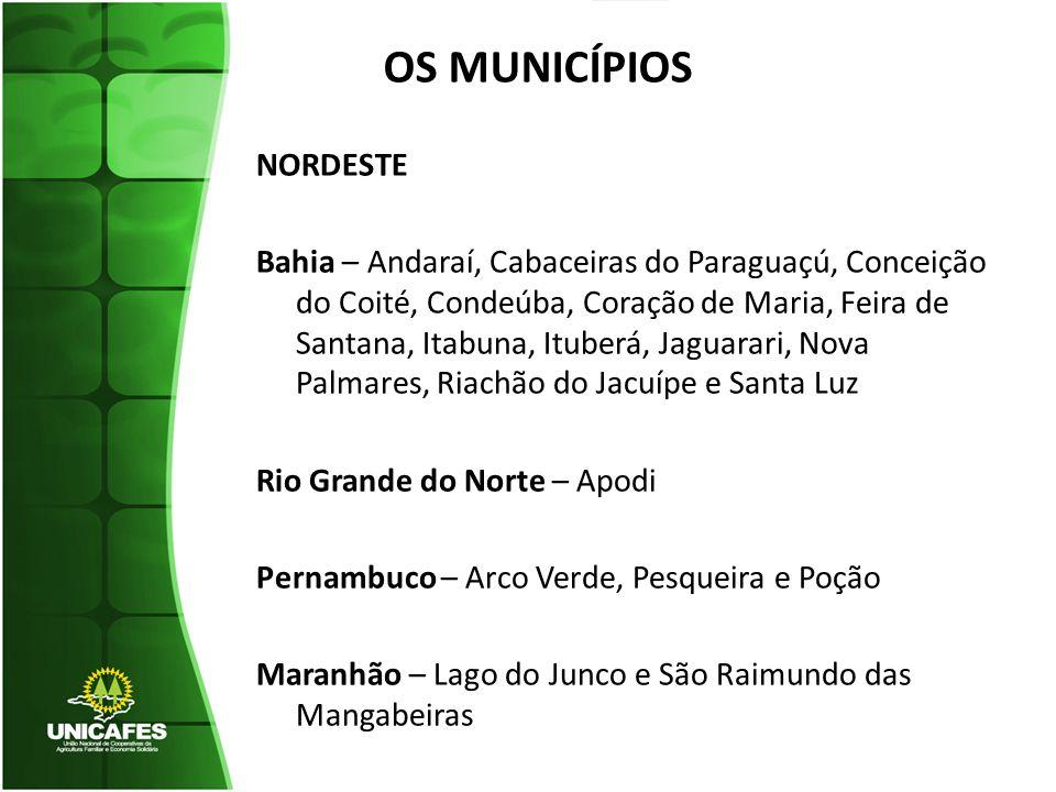 OS MUNICÍPIOS NORDESTE Bahia – Andaraí, Cabaceiras do Paraguaçú, Conceição do Coité, Condeúba, Coração de Maria, Feira de Santana, Itabuna, Ituberá, J