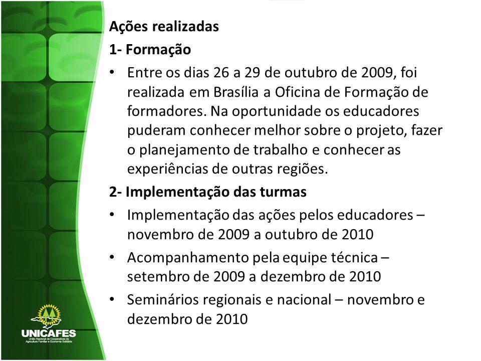 Ações realizadas 1- Formação Entre os dias 26 a 29 de outubro de 2009, foi realizada em Brasília a Oficina de Formação de formadores. Na oportunidade