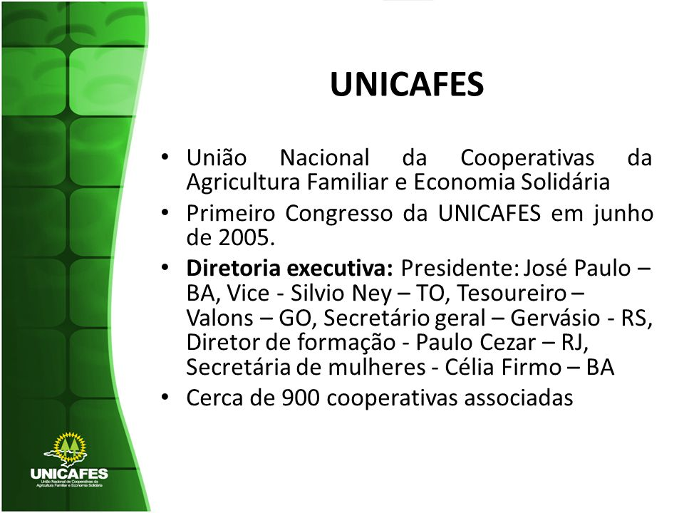 UNICAFES União Nacional da Cooperativas da Agricultura Familiar e Economia Solidária Primeiro Congresso da UNICAFES em junho de 2005. Diretoria execut