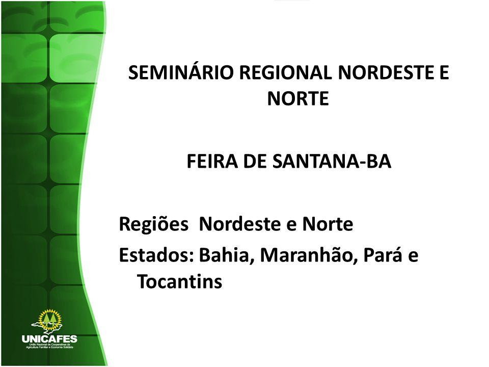 SEMINÁRIO REGIONAL NORDESTE E NORTE FEIRA DE SANTANA-BA Regiões Nordeste e Norte Estados: Bahia, Maranhão, Pará e Tocantins