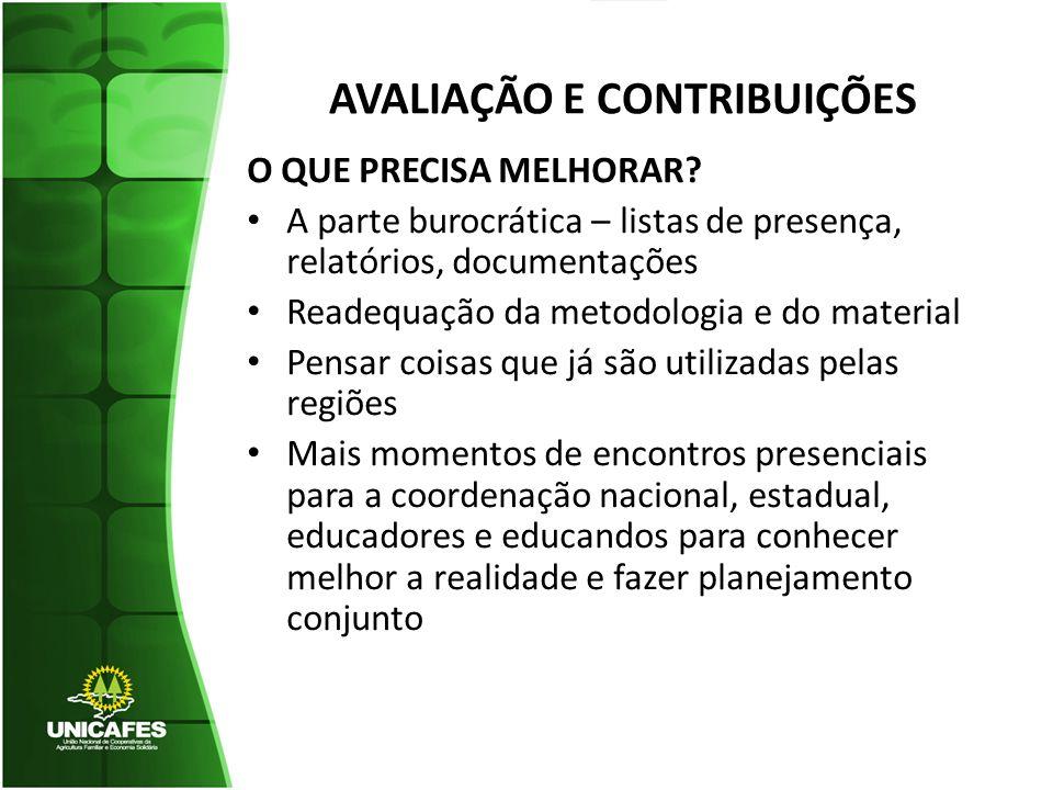 AVALIAÇÃO E CONTRIBUIÇÕES O QUE PRECISA MELHORAR.