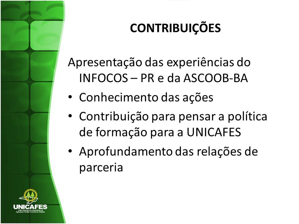 CONTRIBUIÇÕES Apresentação das experiências do INFOCOS – PR e da ASCOOB-BA Conhecimento das ações Contribuição para pensar a política de formação para a UNICAFES Aprofundamento das relações de parceria