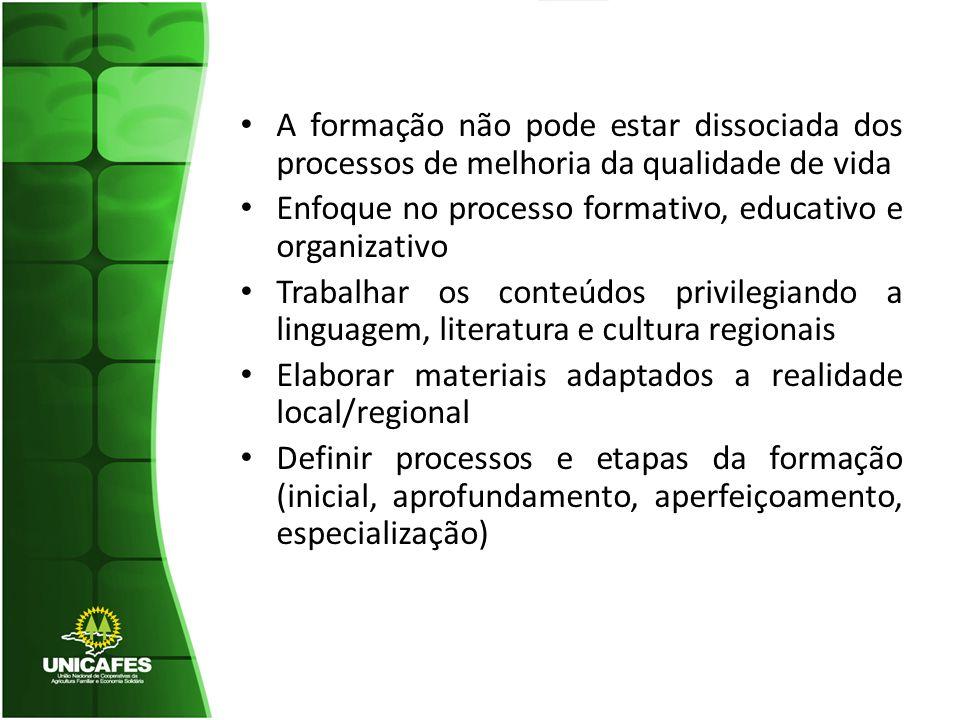 A formação não pode estar dissociada dos processos de melhoria da qualidade de vida Enfoque no processo formativo, educativo e organizativo Trabalhar