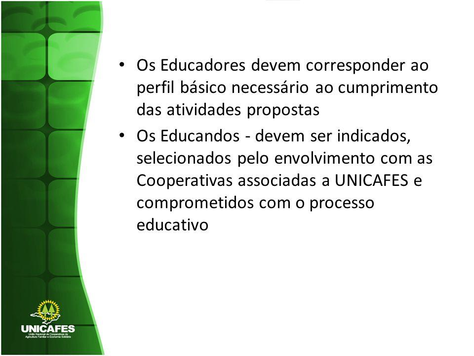 Os Educadores devem corresponder ao perfil básico necessário ao cumprimento das atividades propostas Os Educandos - devem ser indicados, selecionados pelo envolvimento com as Cooperativas associadas a UNICAFES e comprometidos com o processo educativo