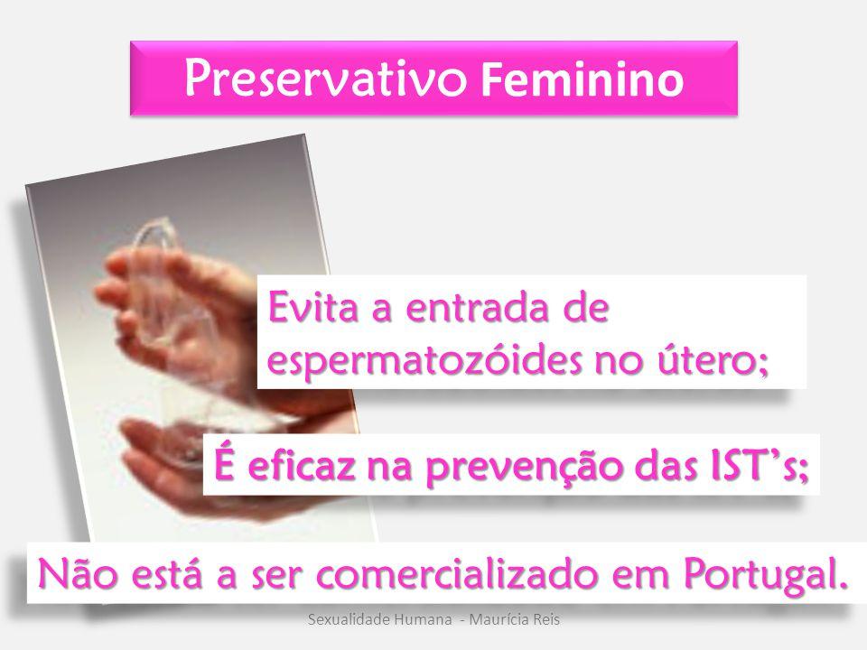 Preservativo Feminino Sexualidade Humana - Maurícia Reis Evita a entrada de espermatozóides no útero; É eficaz na prevenção das IST's; Não está a ser