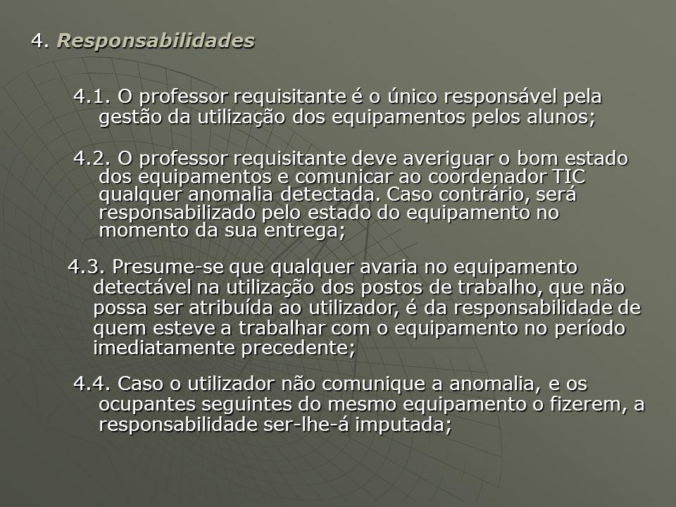 4.4. Caso o utilizador não comunique a anomalia, e os ocupantes seguintes do mesmo equipamento o fizerem, a responsabilidade ser-lhe-á imputada; 4. Re