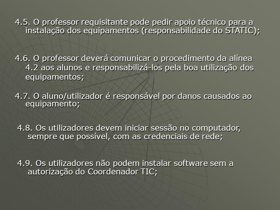 4.9. Os utilizadores não podem instalar software sem a autorização do Coordenador TIC; 4.5.