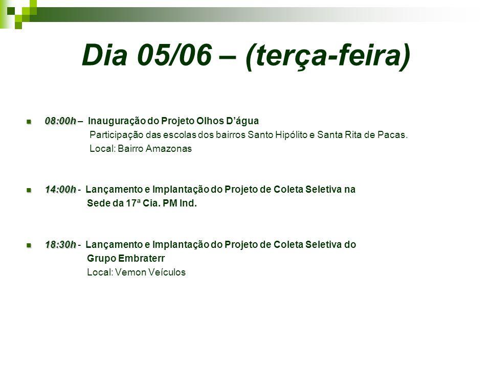 Dia 05/06 – (terça-feira) 08:00h 08:00h – Inauguração do Projeto Olhos D'água Participação das escolas dos bairros Santo Hipólito e Santa Rita de Pacas.