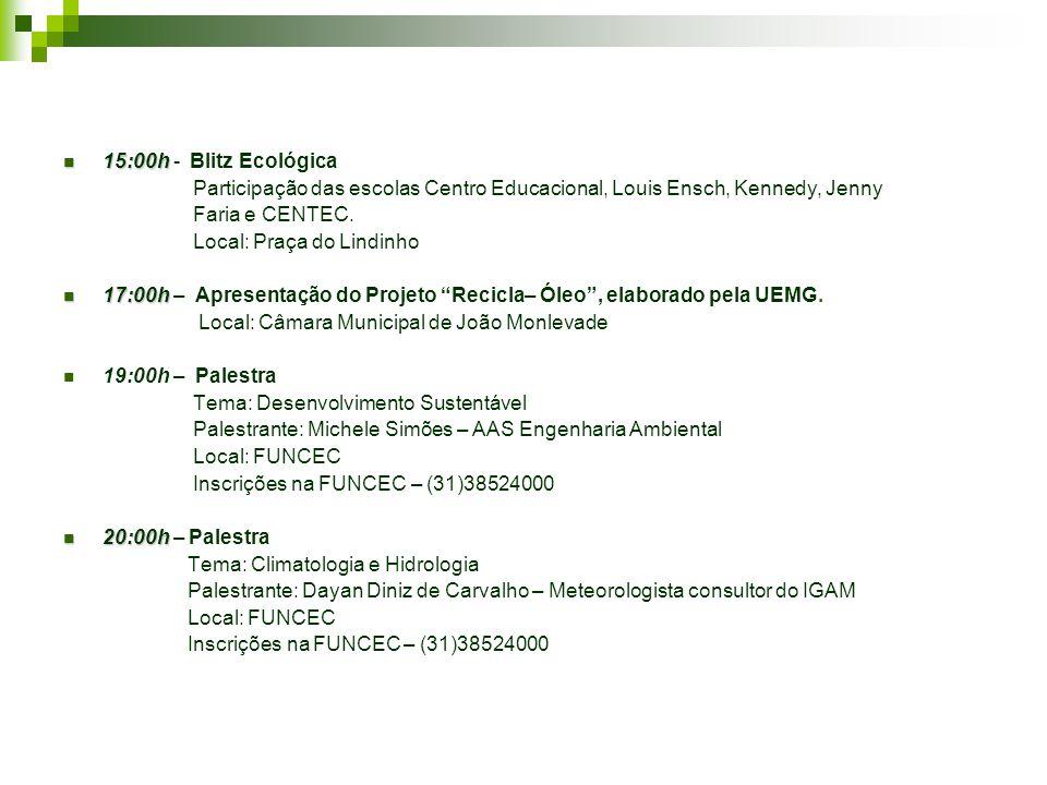15:00h 15:00h - Blitz Ecológica Participação das escolas Centro Educacional, Louis Ensch, Kennedy, Jenny Faria e CENTEC.