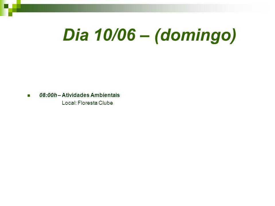 Dia 10/06 – (domingo) 08:00h 08:00h – Atividades Ambientais Local: Floresta Clube
