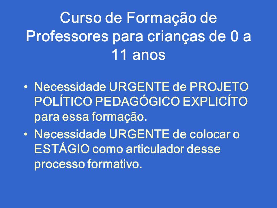 Curso de Formação de Professores para crianças de 0 a 11 anos Necessidade URGENTE de PROJETO POLÍTICO PEDAGÓGICO EXPLICÍTO para essa formação. Necessi
