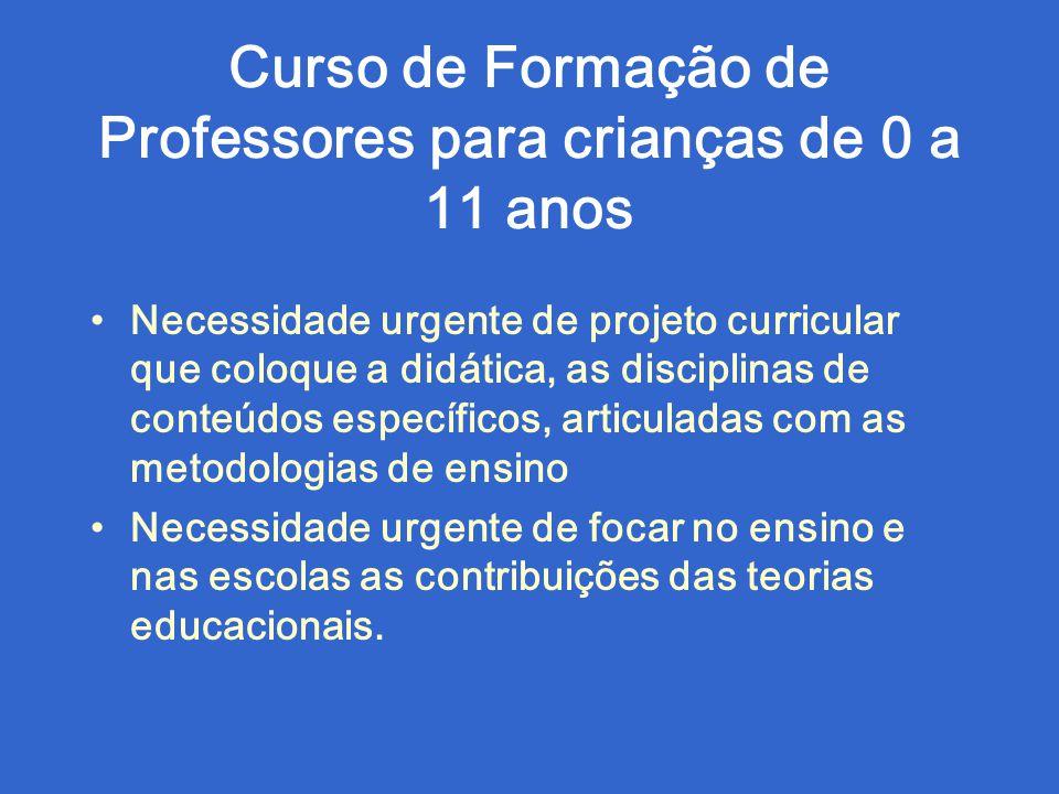 Curso de Formação de Professores para crianças de 0 a 11 anos Necessidade urgente de projeto curricular que coloque a didática, as disciplinas de cont