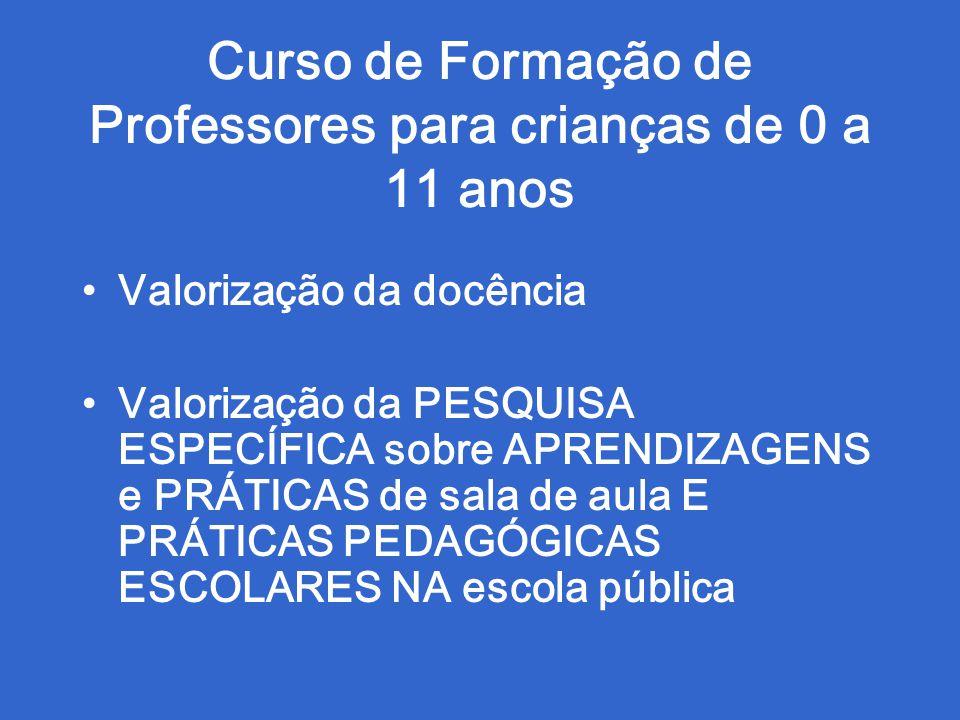 Curso de Formação de Professores para crianças de 0 a 11 anos Valorização da docência Valorização da PESQUISA ESPECÍFICA sobre APRENDIZAGENS e PRÁTICA