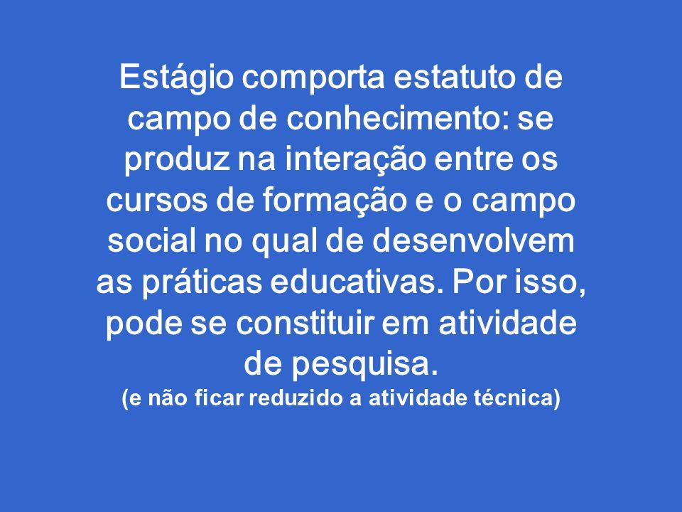 Estágio comporta estatuto de campo de conhecimento: se produz na interação entre os cursos de formação e o campo social no qual de desenvolvem as práticas educativas.