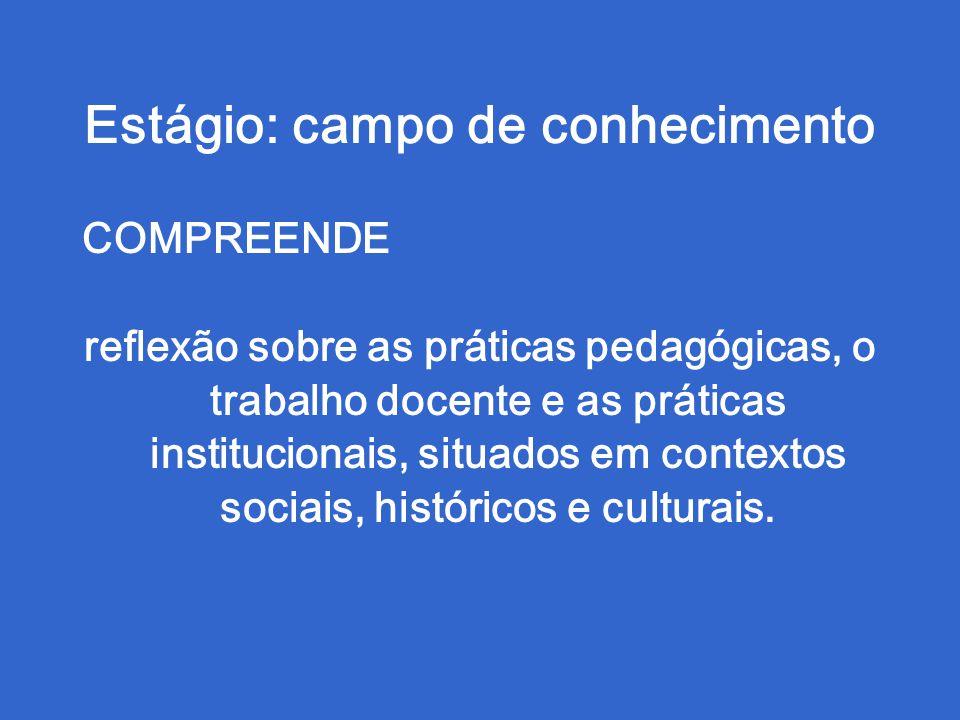 Estágio: campo de conhecimento COMPREENDE reflexão sobre as práticas pedagógicas, o trabalho docente e as práticas institucionais, situados em contextos sociais, históricos e culturais.