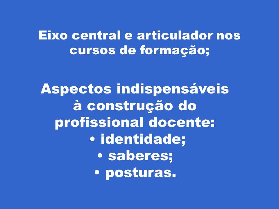 Aspectos indispensáveis à construção do profissional docente: identidade; saberes; posturas.