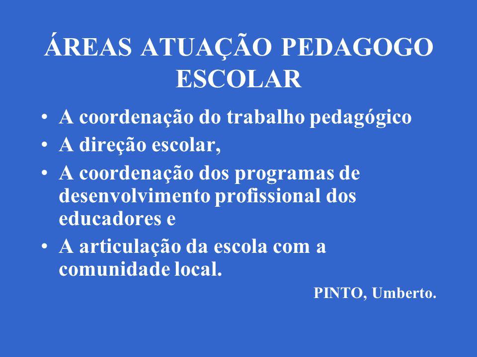 ÁREAS ATUAÇÃO PEDAGOGO ESCOLAR A coordenação do trabalho pedagógico A direção escolar, A coordenação dos programas de desenvolvimento profissional dos educadores e A articulação da escola com a comunidade local.