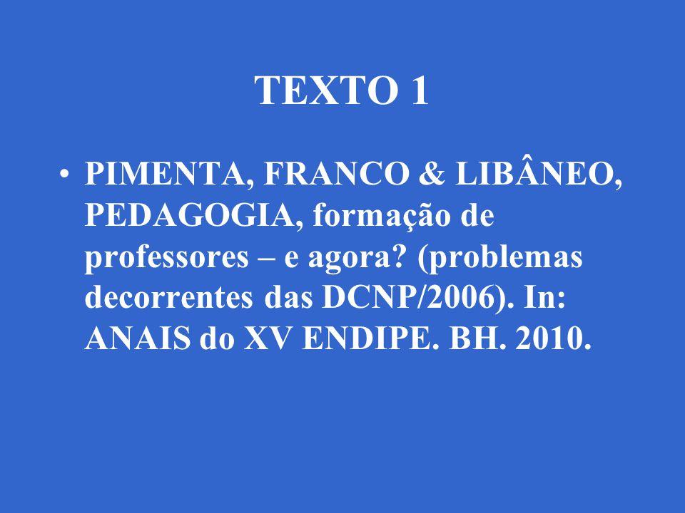 TEXTO 1 PIMENTA, FRANCO & LIBÂNEO, PEDAGOGIA, formação de professores – e agora? (problemas decorrentes das DCNP/2006). In: ANAIS do XV ENDIPE. BH. 20