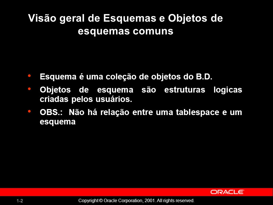 1-3 Copyright © Oracle Corporation, 2001.All rights reserved.