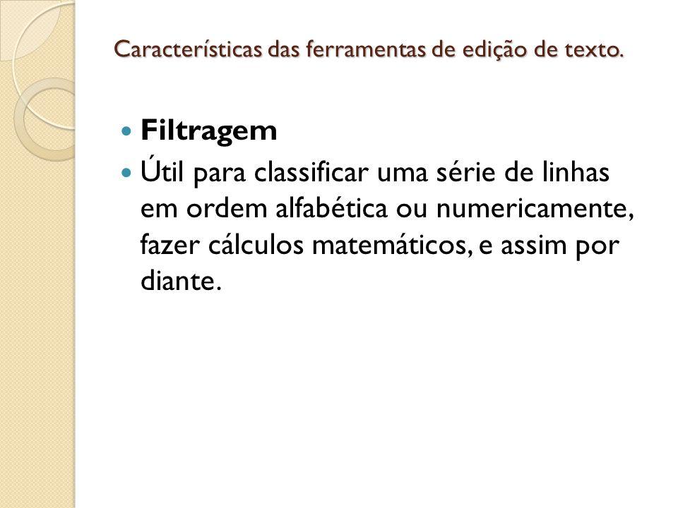 Características de inserção de elementos para edição de texto